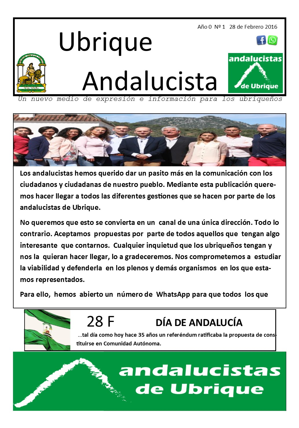 Photo of Boletín Ubrique Andalucista nº 01 (28 Febr. 2016)