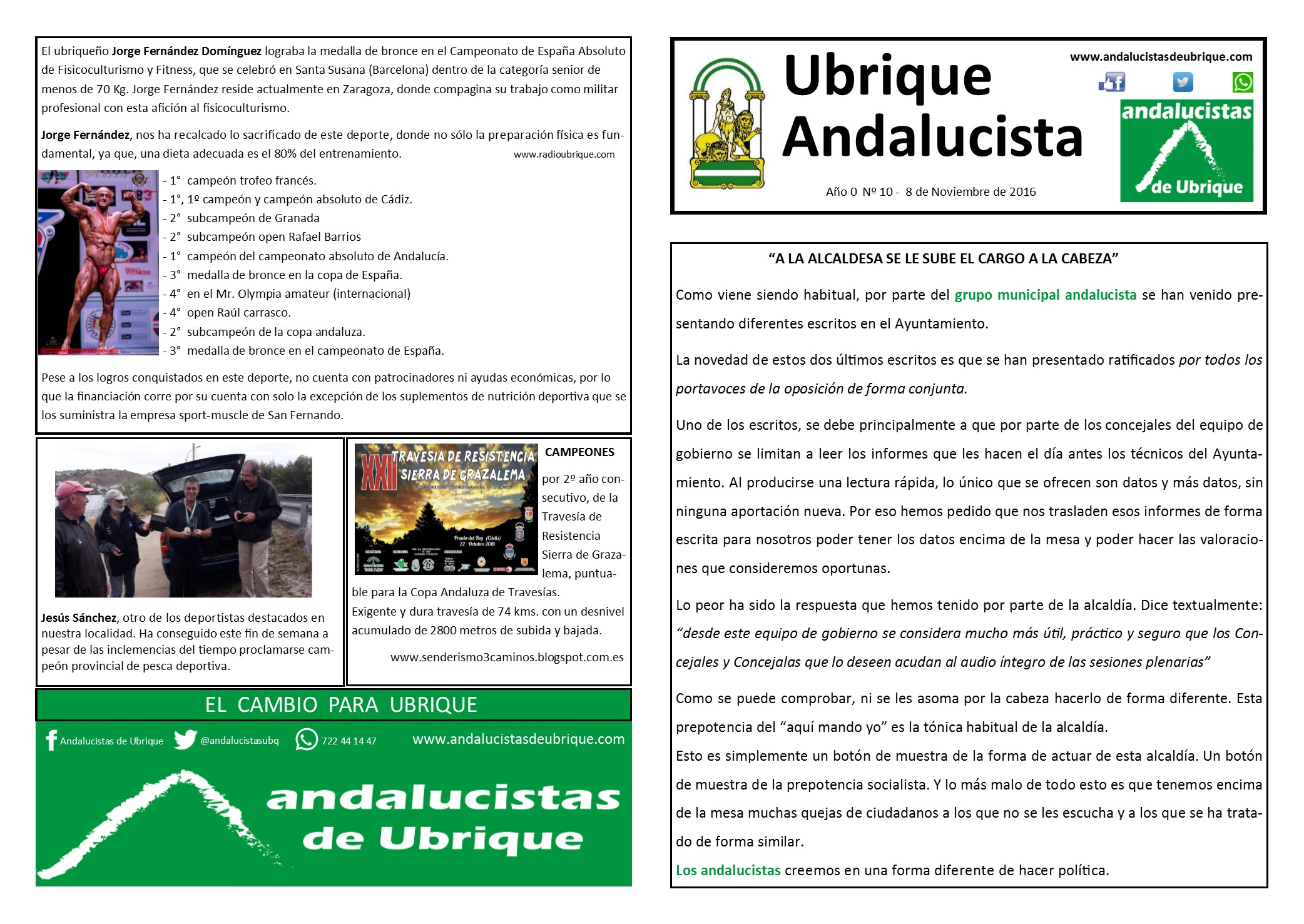 Photo of Boletín Ubrique Andalucista nº 10 (08 Nov. 2016)