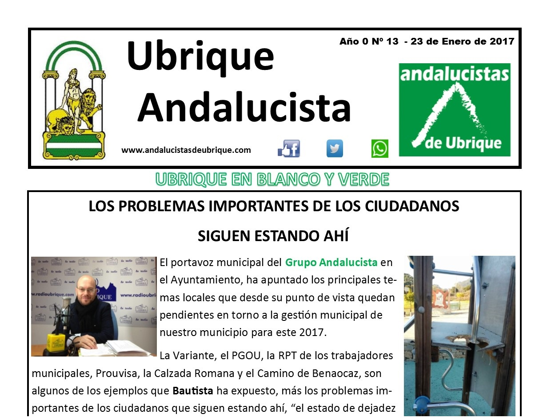 Photo of Boletín Ubrique Andalucista nº 13 (23 Ene. 2017)