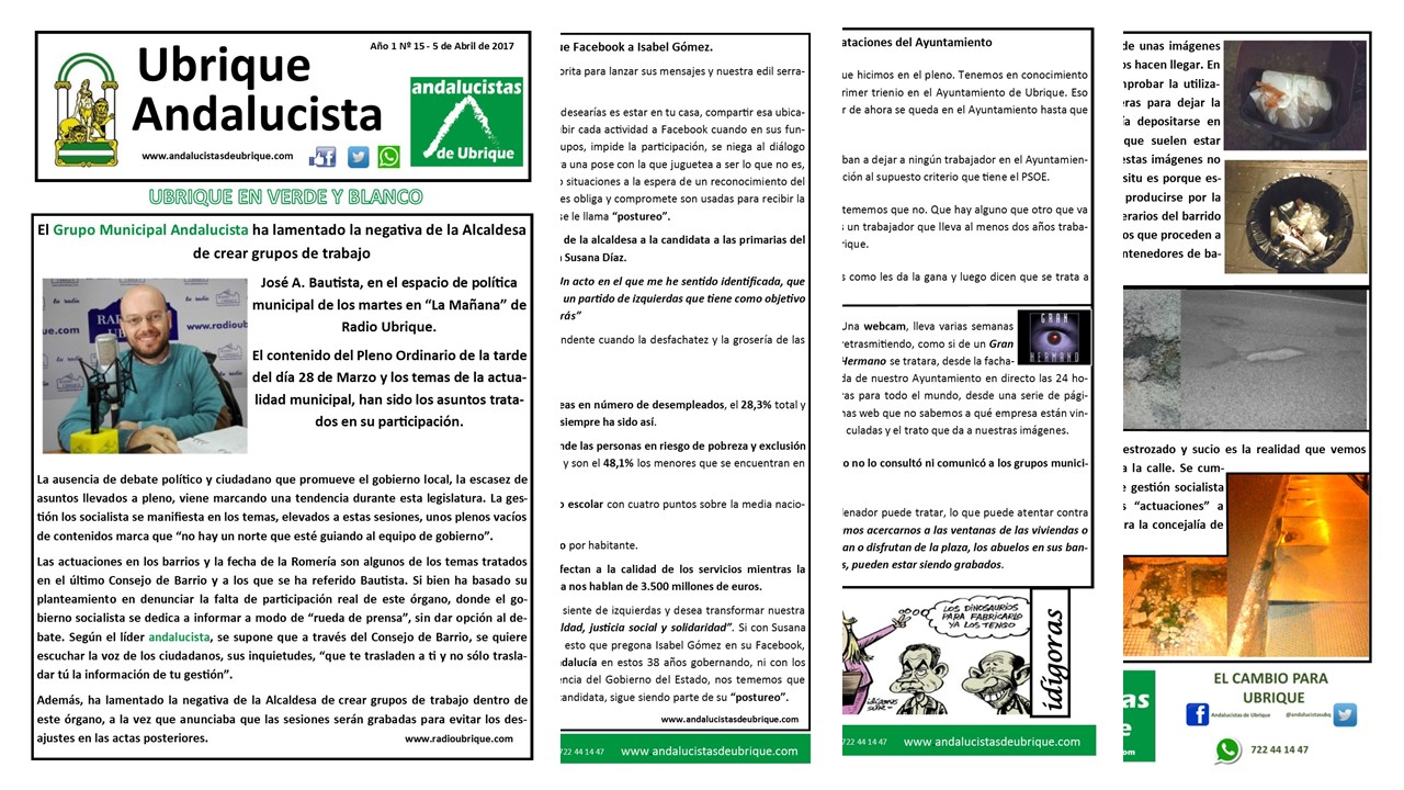 Photo of Boletín Ubrique Andalucista Nº15 (5 Abril 2017)