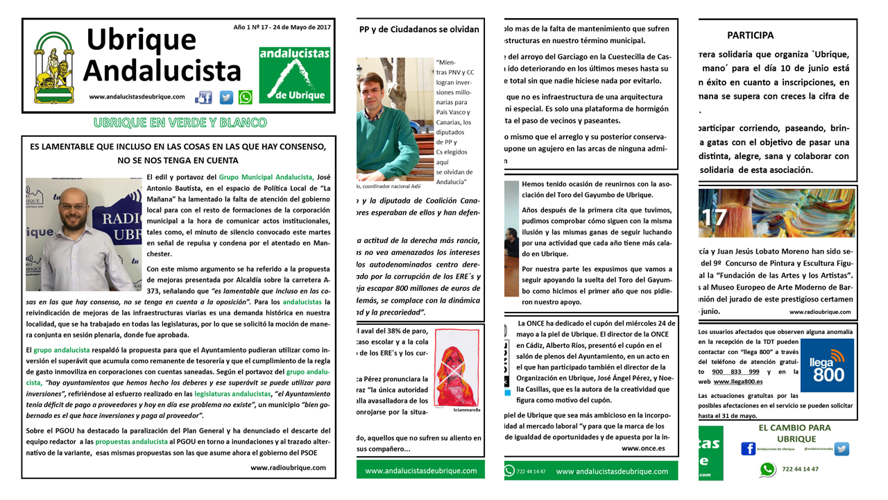 Photo of Boletín «Ubrique Andalucista» nº 17 (24 de Mayo de 2017)