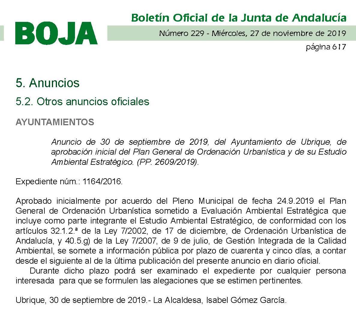 Photo of PUBLICADA LA APROBACION INICIAL DEL PGOU DE UBRIQUE EN EL BOJA