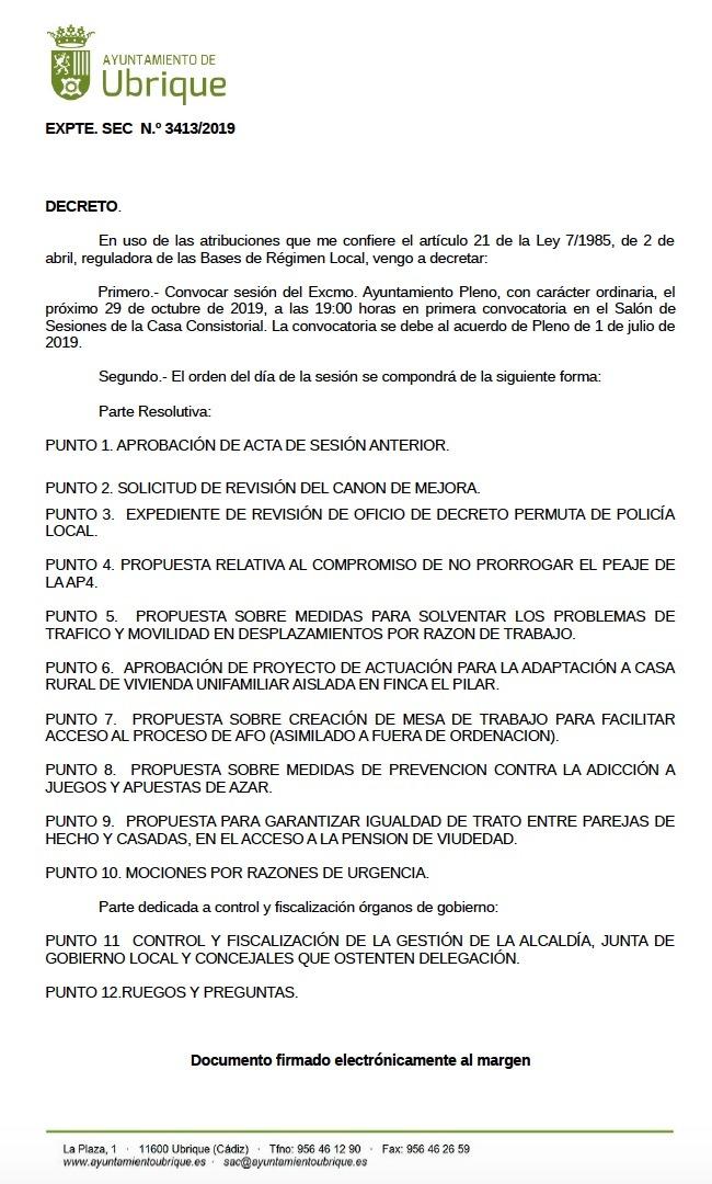 Photo of ALGUNAS VALORACIONES SOBRE EL PLENO DE UBRIQUE